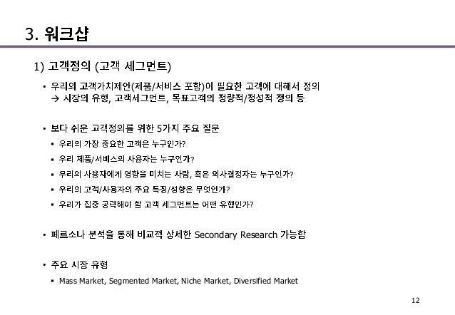 3. 1) ( ) • ( / )  , , / • 5  ?  / ?  , ?  / / ?  ? • Secondary Research •  Mass Market, Segmented Market, Niche Ma...