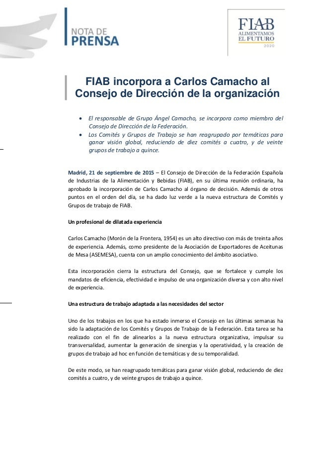 FIAB incorpora a Carlos Camacho al Consejo de Dirección de la organización  El responsable de Grupo Ángel Camacho, se inc...