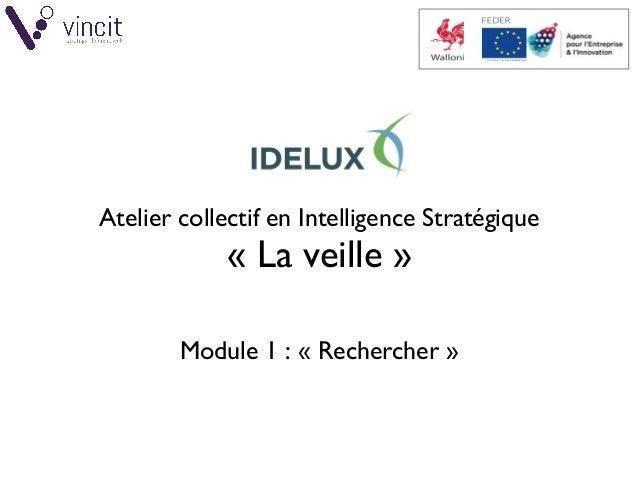 © VINCIT SPRL / IDELUX - Atelier en Intelligence Stratégique: veille (Part1) 1/46 Atelier collectif en Intelligence Strat...