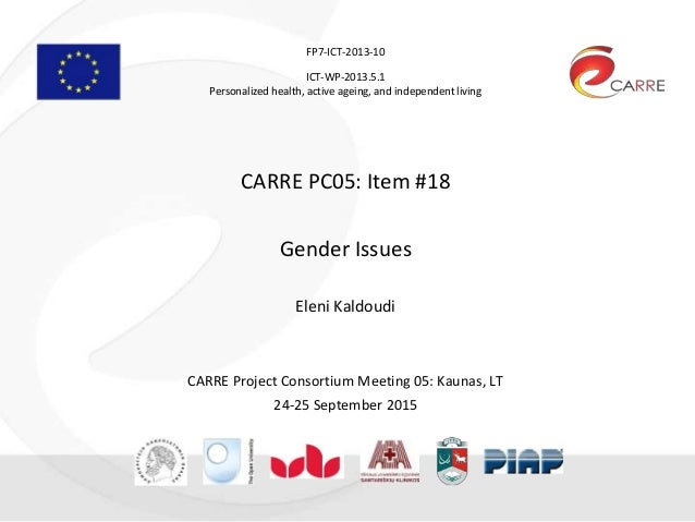 FP7-ICT-2013-10 ICT-WP-2013.5.1 Personalized health, active ageing, and independent living CARRE PC05: Item #18 Gender Iss...