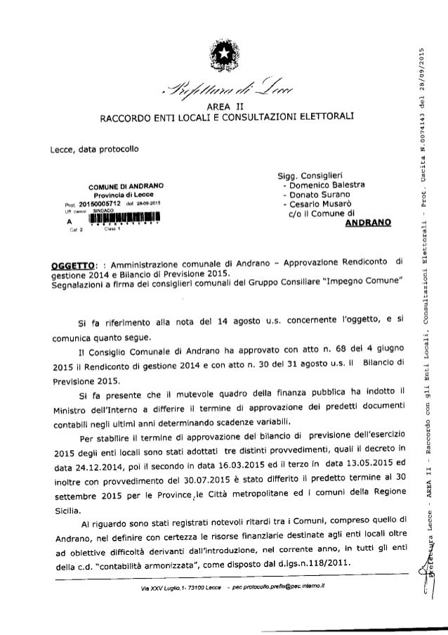 ".  z .  f"" - W/ /x/  7/ / ÍX / r-r/  AREA II RÂCCORDO ENTI LOCÂLÍ E CONSULTAZÍONI ELETTORALI  Lecce,  data protocollo  Sig..."