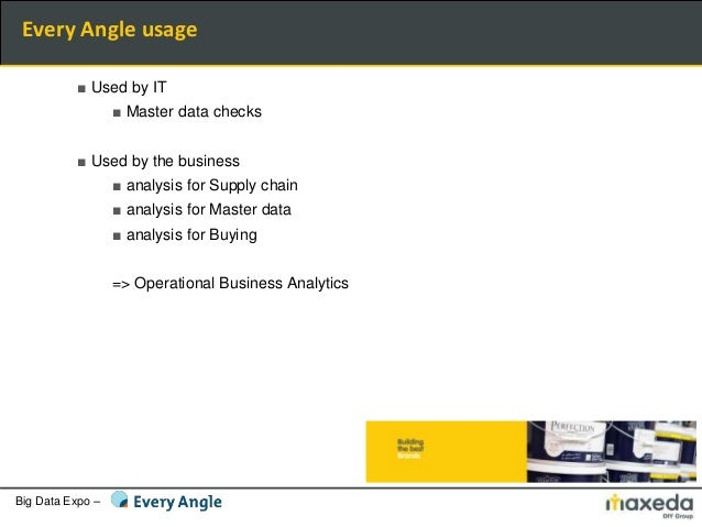 Big Data Expo – ■ Used by IT ■ Master data checks ■ Used by the business ■ analysis for Supply chain ■ analysis for Master...