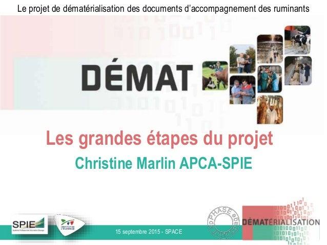 15 septembre 2015 - SPACE Le projet de dématérialisation des documents d'accompagnement des ruminants Les grandes étapes d...