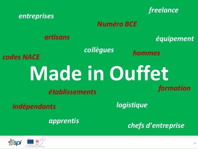 13 Made in Ouffet logistique entreprises apprentis hommes établissements collègues Numéro BCE codes NACE chefs d'entrepris...
