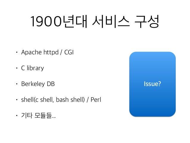 1900년대 서비스 구성 • Apache httpd / CGI • C library • Berkeley DB • shell(c shell, bash shell) / Perl • 기타 모듈들... Issue?
