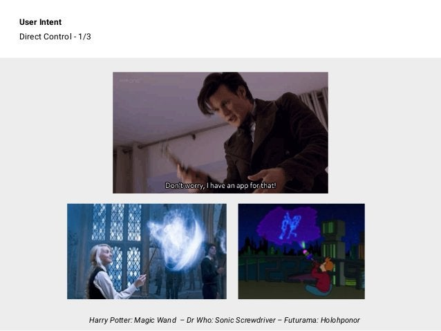 User Intent Direct Control - 1/3 Harry Potter: Magic Wand – Dr Who: Sonic Screwdriver – Futurama: Holohponor