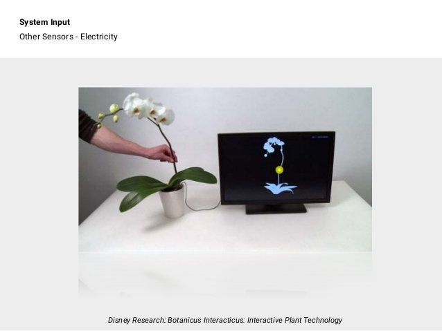System Input Other Sensors - Electricity Disney Research: Botanicus Interacticus: Interactive Plant Technology