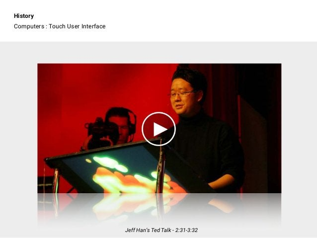 History Computers : Touch User Interface Jeff Han's Ted Talk - 2:31-3:32