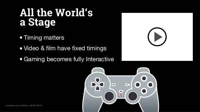 All the World's a Stage •Timing matters •Video & film have fixed timings •Gaming becomes fully Interactive controller icon b...