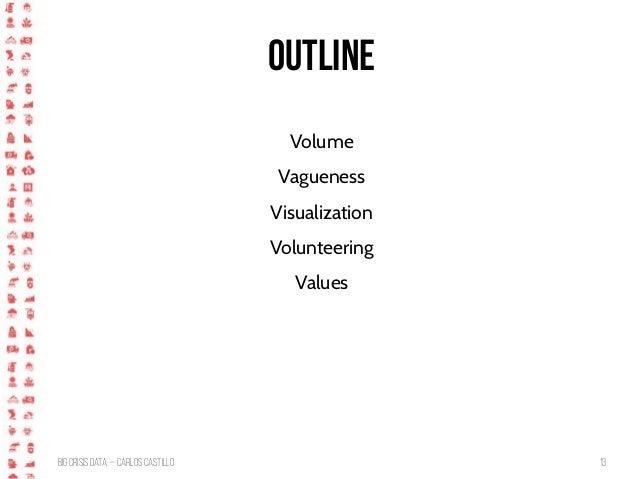 BigCrisis Data — Carlos Castillo 13 Outline Volume Vagueness Visualization Volunteering Values
