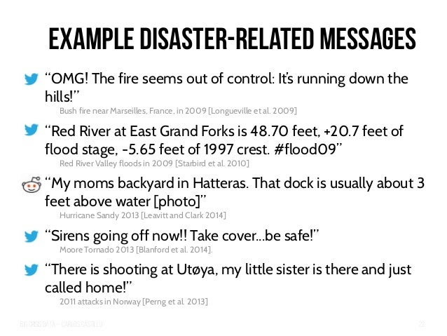 """Big Crisis Data — Carlos Castillo 22 Example Disaster-Related Messages """"OMG! The fire seems out of control: It's running d..."""