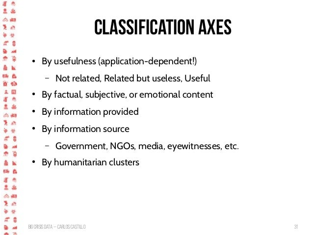 BigCrisis Data — Carlos Castillo 31 Classification Axes ● By usefulness (application-dependent!) – Not related, Related bu...