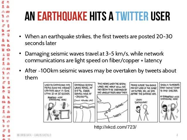BigCrisis Data — Carlos Castillo 4 An earthquake hits a Twitter user http://xkcd.com/723/ ● When an earthquake strikes, th...