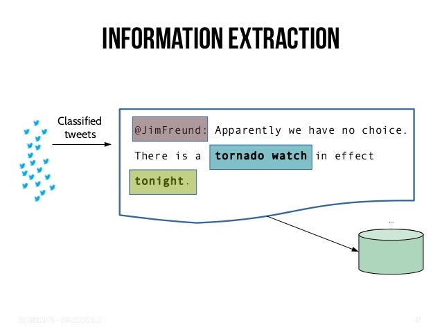 Big Crisis Data — Carlos Castillo 41 Information Extraction ... Classified tweets @JimFreund: Apparently we have no choice...