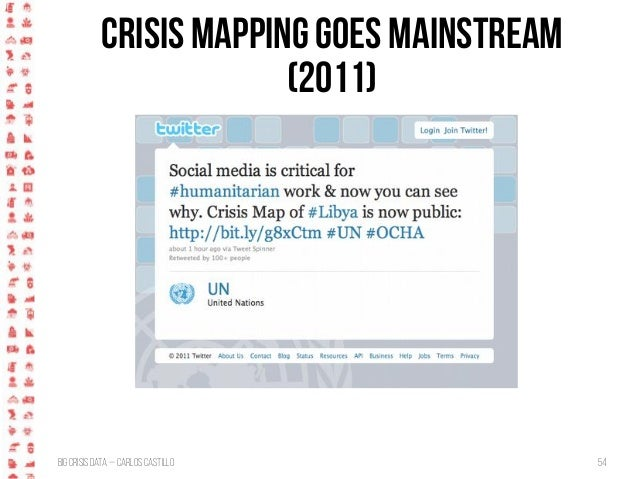 BigCrisis Data — Carlos Castillo 54 Crisis mapping goes mainstream (2011)