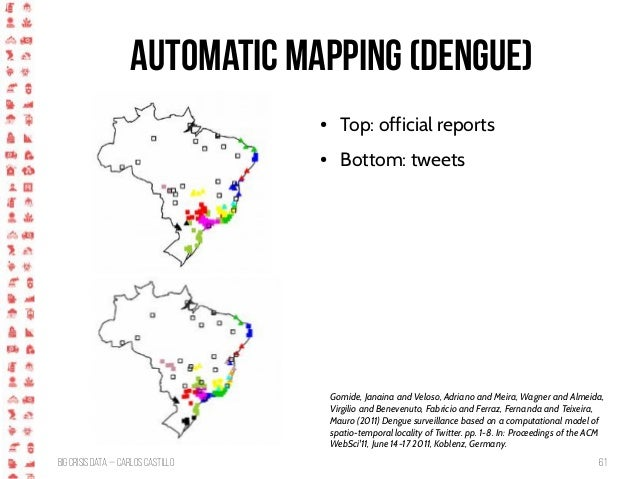 BigCrisis Data — Carlos Castillo 61 Automatic Mapping (Dengue) Gomide, Janaina and Veloso, Adriano and Meira, Wagner and A...
