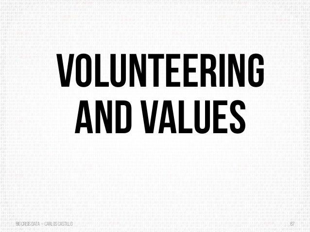 BigCrisis Data — Carlos Castillo 67 Volunteering and Values