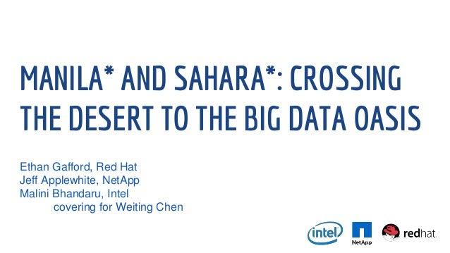 MANILA* AND SAHARA*: CROSSING THE DESERT TO THE BIG DATA OASIS Ethan Gafford, Red Hat Jeff Applewhite, NetApp Malini Bhand...