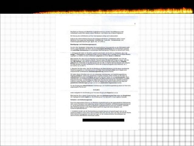 Kennzeichen einer Abmahnung  Kurze Frist  Unterlassungs- & Verpflichtungserklärung  Schadensersatzzahlung  Übernahme d...