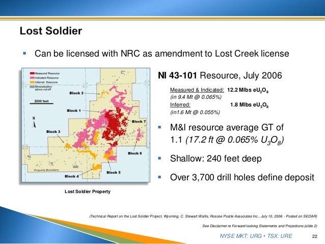 NYSE MKT: URG • TSX: URE  M&I resource average GT of 1.1 (17.2 ft @ 0.065% U3O8)  Shallow: 240 feet deep  Over 3,700 dr...