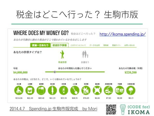 http://ikoma.spending.jp/ 2014.4.7Spending.jp 生駒市版完成by Mori 税金はどこへ行った? 生駒市版