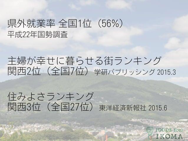県外就業率 全国1位(56%) 平成22年国勢調査 主婦が幸せに暮らせる街ランキング 関西2位(全国7位)学研パブリッシング 2015.3 住みよさランキング 関西3位(全国27位)東洋経済新報社 2015.6