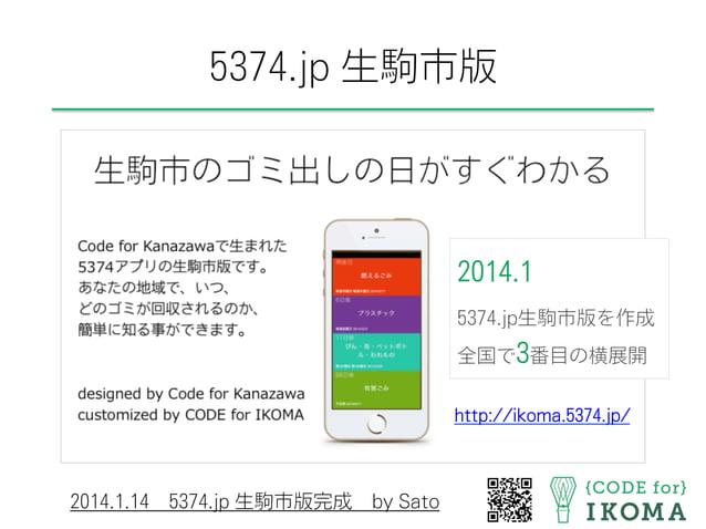 5374.jp 生駒市版 http://ikoma.5374.jp/ 2014.1.145374.jp 生駒市版完成by Sato 2014.1 5374.jp生駒市版を作成 全国で3番目の横展開
