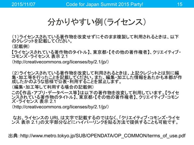 分かりやすい例(ライセンス) (1)ライセンスされている著作物を改変せずにそのまま複製して利用されるときは、以下 のクレジットを記載してください。 (記載例) 【ライセンスされている著作物のタイトル】、東京都・【その他の著作権者】、クリエイティ...