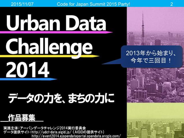 2015/11/07 Code for Japan Summit 2015 Party! 2 2013年から始まり、 今年で三回目!