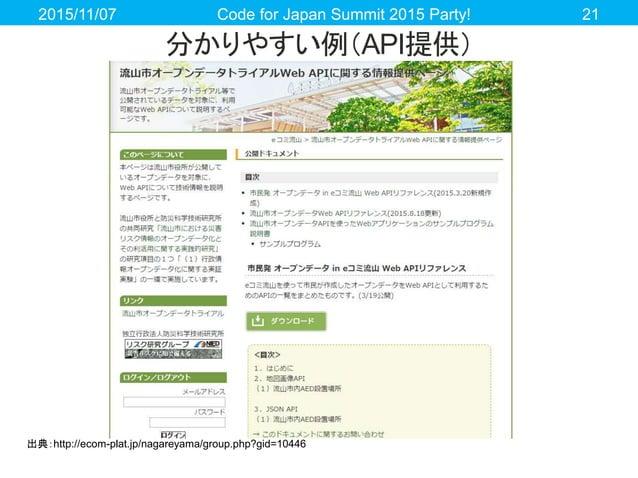 分かりやすい例(API提供) 2015/11/07 Code for Japan Summit 2015 Party! 21 出典:http://ecom-plat.jp/nagareyama/group.php?gid=10446