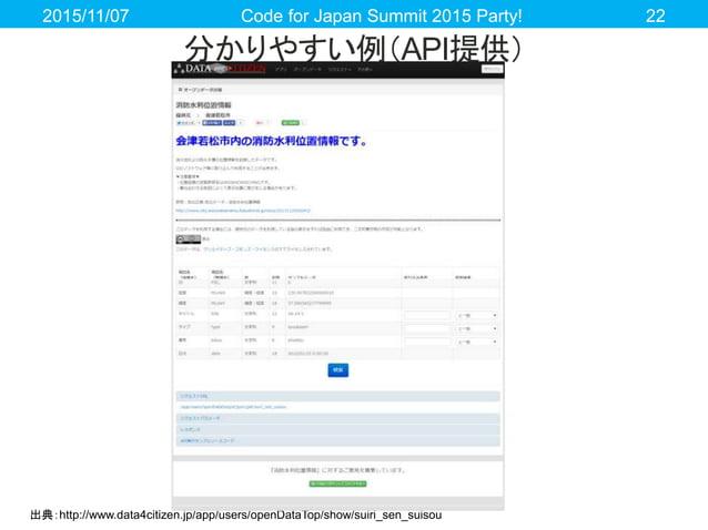 分かりやすい例(API提供) 2015/11/07 Code for Japan Summit 2015 Party! 22 出典:http://www.data4citizen.jp/app/users/openDataTop/show/su...
