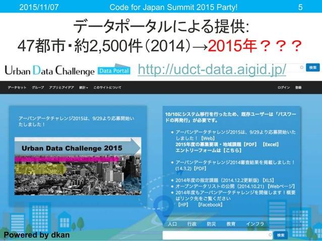 データポータルによる提供: 47都市・約2,500件(2014)→2015年??? 2015/11/07 Code for Japan Summit 2015 Party! 5 Powered by dkan http://udct-data....