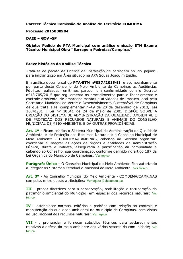 Parecer Técnico Comissão de Análise de Território COMDEMA Processo 2015000904 DAEE – GOV -SP Objeto: Pedido de PTA Municip...