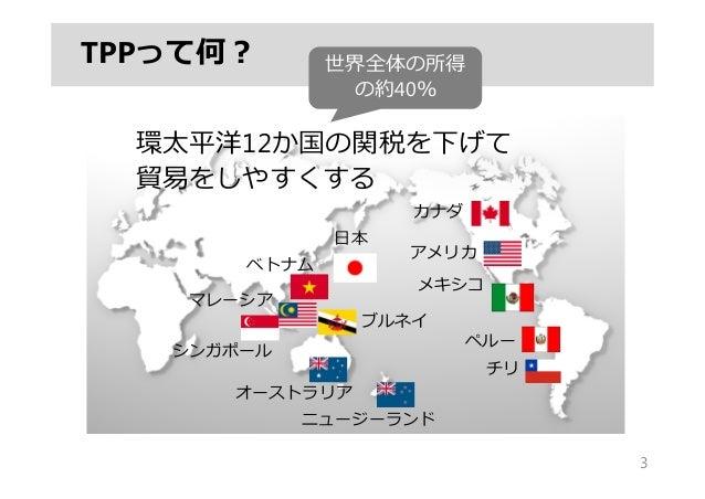 TPPって何? 3 環太平洋12か国の関税を下げて 貿易をしやすくする 世界全体の所得 の約40% ⽇本 ベトナム シンガポール マレーシア ブルネイ オーストラリア ニュージーランド カナダ アメリカ メキシコ ペルー チリ