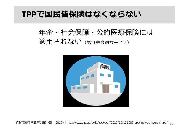 TPPで国⺠皆保険はなくならない 年⾦・社会保障・公的医療保険には 適⽤されない(第11章⾦融サービス) 35内閣官房TPP政府対策本部(2015)http://www.cas.go.jp/jp/tpp/pdf/2015/10/151005_t...