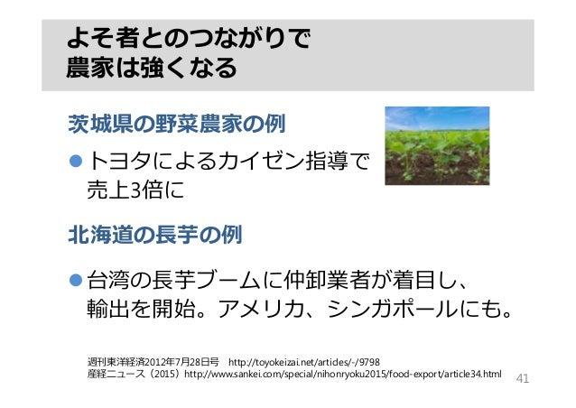 茨城県の野菜農家の例 トヨタによるカイゼン指導で 売上3倍に 北海道の⻑芋の例 台湾の⻑芋ブームに仲卸業者が着⽬し、 輸出を開始。アメリカ、シンガポールにも。 よそ者とのつながりで 農家は強くなる 41 週刊東洋経済2012年7⽉28⽇号 ...