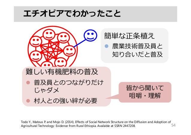 54 エチオピアでわかったこと 簡単な正条植え  農業技術普及員と 知り合いだと普及 Todo Y., Matous P. and Mojo D. (2014). Effects of Social Network Structure on ...