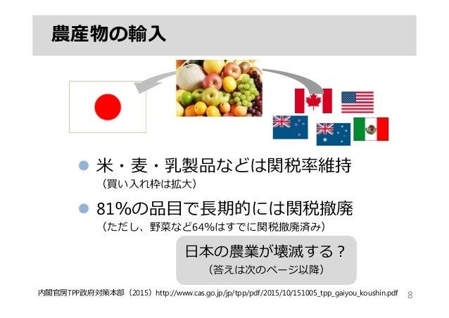 農産物の輸⼊ 8内閣官房TPP政府対策本部(2015)http://www.cas.go.jp/jp/tpp/pdf/2015/10/151005_tpp_gaiyou_koushin.pdf  ⽶・⻨・乳製品などは関税率維持 (買い⼊れ枠は...