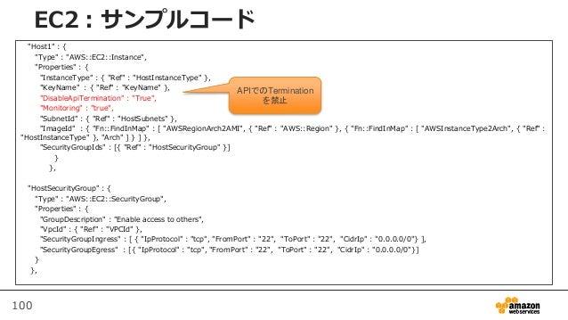"100 EC2:サンプルコード ""Host1"" : { ""Type"" : ""AWS::EC2::Instance"", ""Properties"" : { ""InstanceType"" : { ""Ref"" : ""HostInstanceType"" ..."