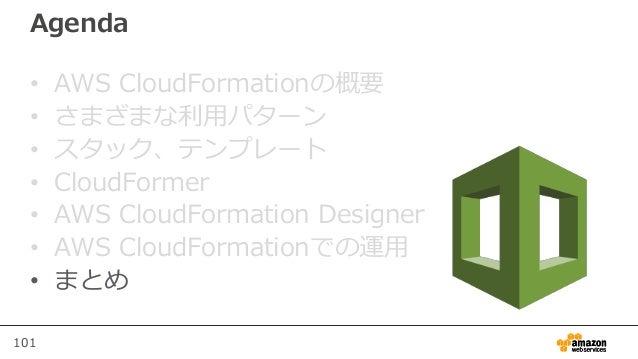 101 Agenda • AWS CloudFormationの概要 • さまざまな利用パターン • スタック、テンプレート • CloudFormer • AWS CloudFormation Designer • AWS CloudForm...
