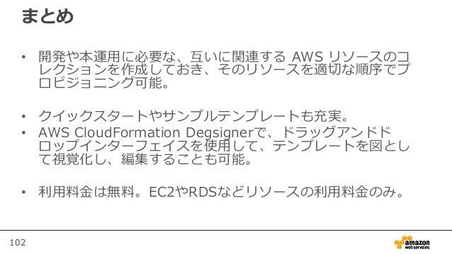 102 まとめ • 開発や本運用に必要な、互いに関連する AWS リソースのコ レクションを作成しておき、そのリソースを適切な順序でプ ロビジョニング可能。 • クイックスタートやサンプルテンプレートも充実。 • AWS CloudFormat...