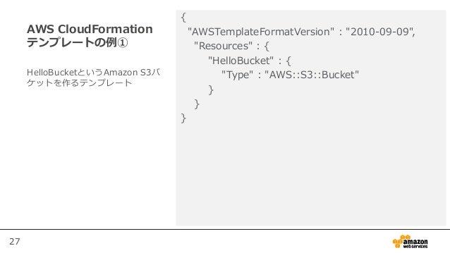 "27 AWS CloudFormation テンプレートの例① { ""AWSTemplateFormatVersion"" : ""2010-09-09"", ""Resources"" : { ""HelloBucket"" : { ""Type"" : ""A..."