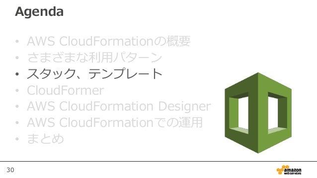 30 Agenda • AWS CloudFormationの概要 • さまざまな利用パターン • スタック、テンプレート • CloudFormer • AWS CloudFormation Designer • AWS CloudForma...