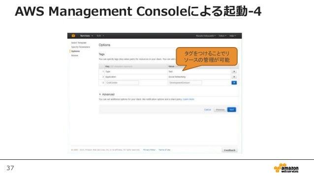 37 タグをつけることでリ ソースの管理が可能 AWS Management Consoleによる起動-4
