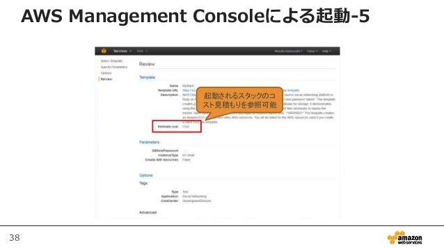 38 起動されるスタックのコ スト見積もりを参照可能 AWS Management Consoleによる起動-5