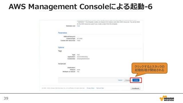 39 AWS Management Consoleによる起動-6 クリックするとスタックの 起動処理が開始される
