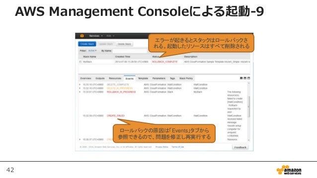 42 AWS Management Consoleによる起動-9 エラーが起きるとスタックはロールバックさ れる。起動したリソースはすべて削除される ロールバックの原因は「Events」タブから 参照できるので、問題を修正し再実行する