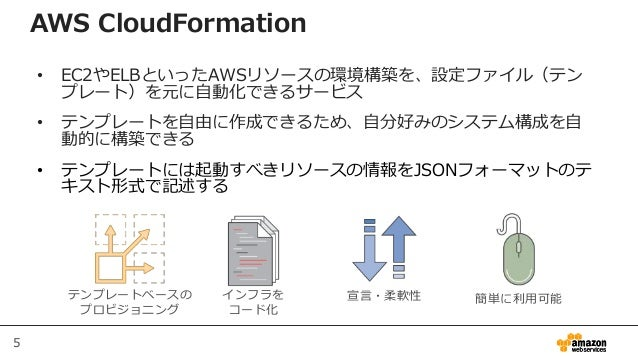 5 AWS CloudFormation • EC2やELBといったAWSリソースの環境構築を、設定ファイル(テン プレート)を元に自動化できるサービス • テンプレートを自由に作成できるため、自分好みのシステム構成を自 動的に構築できる • ...
