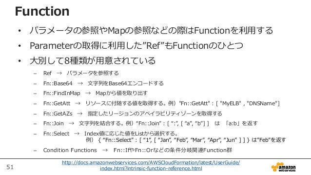 51 http://docs.amazonwebservices.com/AWSCloudFormation/latest/UserGuide/ index.html?intrinsic-function-reference.html Func...