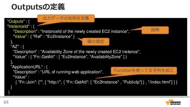"65 ""Outputs"" : { ""InstanceId"" : { ""Description"" : ""InstanceId of the newly created EC2 instance"", ""Value"" : { ""Ref"" : ""Ec2..."